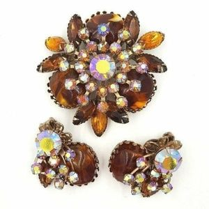 Judy Lee Brooch Earring Set Simulated Amber Topaz
